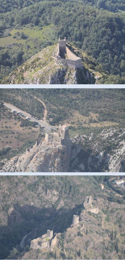 Trio de vues caractéristiques des châteaux cathares: des forteresses en surplomb de la vallée, des villages ou à flanc de collines
