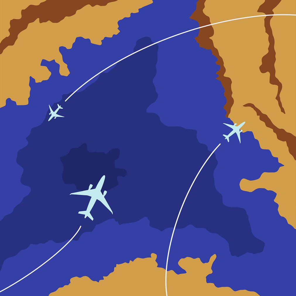 Dessin sur une carte schématisée représentant les différents vols d'un avion entre des continents, au-dessus des eaux. Représentation allégorique des itinéraires de vols où on suit le parcours tracé sur une carte.