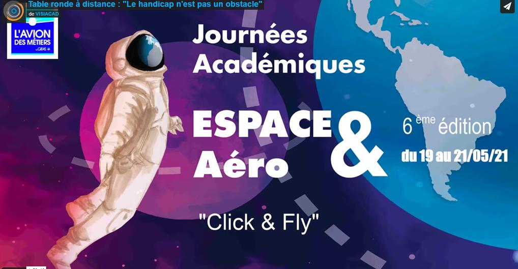 Affiche de la conférence: Sur un fond d'espace stylisé - planètes, satellites en dessins - un cosmonaute se laisse porter ; la planète Terre se reflète dans la vitre de son casque, remplaçant les traits de son visage